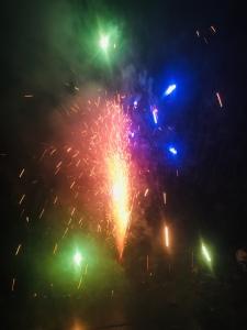 Vuurwerk blauw groen